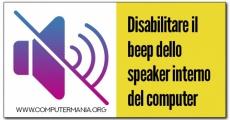 Disabilitare il beep dello speaker interno del computer