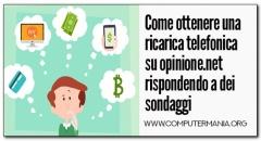 Come ottenere una ricarica telefonica su opinione.net rispondendo a dei sondaggi