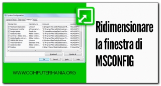Ridimensionare la finestra di MSCONFIG