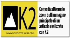 Come disattivare lo zoom sull'immagine principale di un articolo realizzato con K2