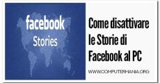Come disattivare le Storie di Facebook al PC
